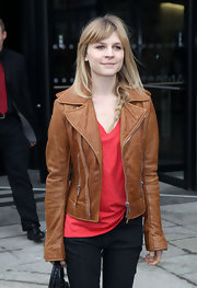 Clemence Poesy finished off her nonchalant fashion week style with a cognac leather jacket.