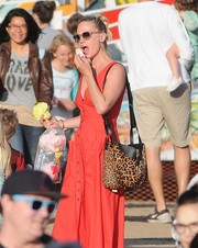 January Jones was spotted at the Malibu Chili Cook-Off and Carnival carrying a stylish leopard-print shoulder bag by Loewe.