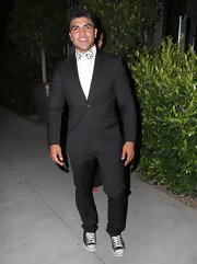 Victor Ortiz chose a classic two-button suit and printed bow tie for his sleek and cool look at the after party for 'Dancing With the Star.'