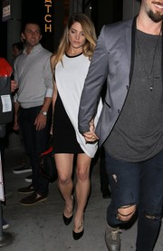 Ashley Greene was spotted at Catch wearing a draped black-and-white mini dress.