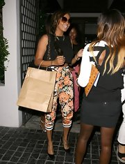La La Anthony sported a pair of vibrant floral pants during a dinner out in West Hollywood.
