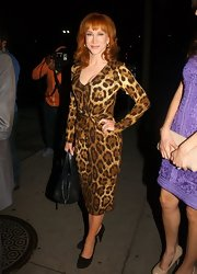 Kathy Griffin showed her wild side with this leopard print dress with gathered waist.