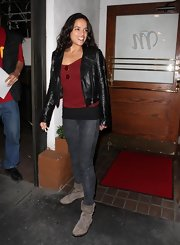 Michelle Rodriguez sported a leather-on-leather look with this jacket and leggings combo during a night out at Madeo Restaurant.