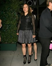 Jennifer Tilly chose a sheer mesh blazer for her dinner look while out in Beverly Hills.