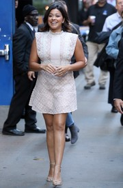 Gina Rodriguez visited 'Good Morning America' looking cute in a little white lace dress.