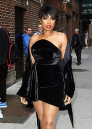 Jennifer Hudson cut a sensual figure in a strapless black velvet dress by Brandon Maxwell during her appearance on 'Stephen Colbert.'