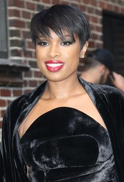 Jennifer Hudson wore her hair short with choppy bangs during her appearance on 'Stephen Colbert.'