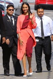 Zoe Saldana cut a striking figure in a Tanya Taylor color-block dress while on her way to 'Jimmy Kimmel Live!'