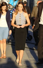 Emily Blunt headed to 'Jimmy Kimmel Live!' wearing a fitted two-tone dress by David Koma.
