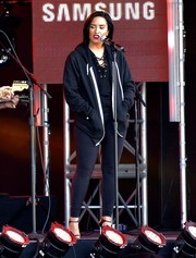 Demi Lovato teamed a black hoodie with leggings for an appearance on 'Kimmel.'