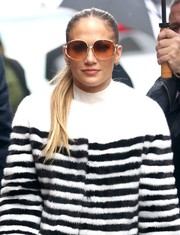 Jennifer Lopez headed to 'The View' wearing a pair of oversized oval sunnies.