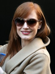 Jessica Chastain arrived for her 'Good Morning America' appearance wearing chic oversized sunglasses.