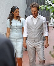 Camila Alves looked very refined in a baby-blue button-down brocade dress by Dolce & Gabbana during Matthew McConaughey's Walk of Fame ceremony.