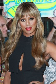 Laverne Cox styled her tresses with sweet-looking waves and wispy bangs for her 'Good Morning America' appearance.