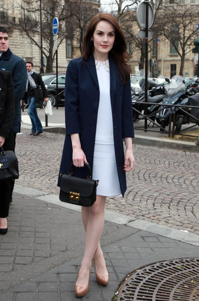 The 'Downton Abbey' actress finished off her outfit with platform pumps.