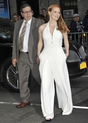 Jessica Chastain looked tres chic in a white halter jumpsuit by Temperley London while visiting 'Letterman.'