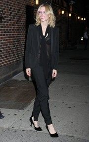 Cate Blanchett teamed a black pantsuit with a sheer tie-neck blouse for her appearance on 'Late Show with Stephen Colbert.'