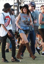 Kylie Jenner fit right in at Coachella in her cutoff tee.