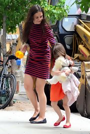 Katie Holmes was out with Suri in NY waering this casual striped dress.
