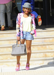 Christina Milian looked sweet and sunny in a bright and colorful blazer.