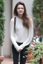 Ciara Bravo was out and about in Vancouver wearing a white crewneck sweater and jeans.