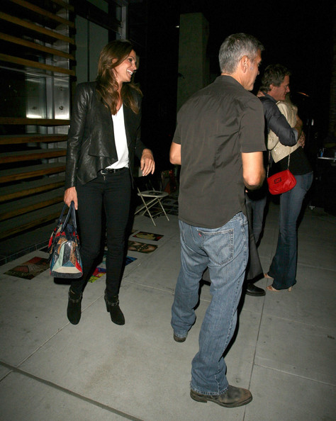 George Clooney Enjoys A Night Out With Cindy Crawford & Rande Gerber