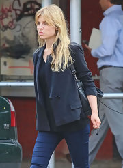 Clemence Poesy looked sharp in this asymmetrical tencel blazer while running errands in  NY.