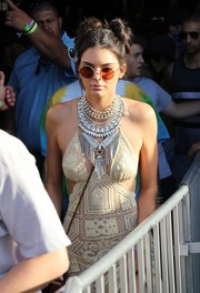 Kendall Jenner went bold with her accessories during Coachella, wearing this statement-making silver necklace by Dylanlex.