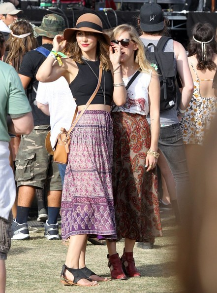 Katharine McPhee in a Crop-Top and Patterned Skirt