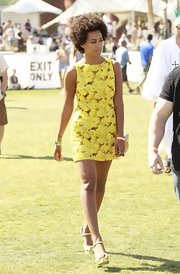 Solange Knowles chose a bright and cheerful lemon-print frock for her summery look at Coachella.