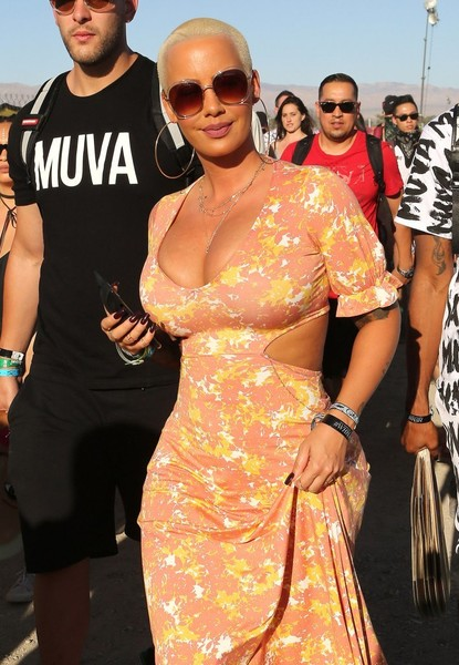 Amber Rose kept the rays out with a pair of oversized sunnies while out and about at Coachella.