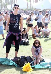 Austin Butler showed his rock 'n' roll style with this sleeveless Led Zepplin tee.