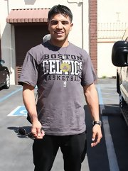 Victor Ortiz showed his team loyalty when he sported this gray Boston Celtics tee.
