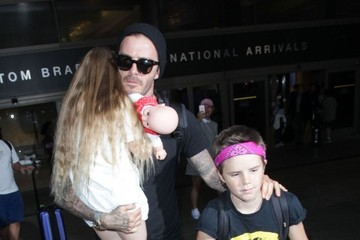 David Beckham Harper Beckham David Beckham & Kids Arriving On A Flight At LAX