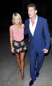 Hayley Roberts looked summer-chic in a pink tank top and floral shorts while out on a date with David Hasselhoff.
