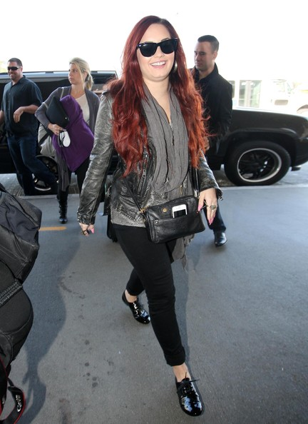 Demi Lovato Leather Shoulder Bag []