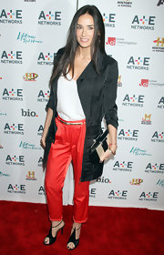 Demi Moore added shine to her look at the 'A&E' Upfront Presentation with black satin peep-toe Dulcina sandals.
