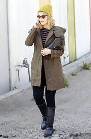 Dianna Agron chose this long utility jacket in a deep forest green while out in LA.