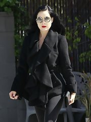 Dita Von Teese rocked a ruffled wool coat while out in LA.
