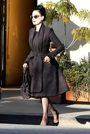 How fabulous is this wool leather wrap coat Dita wore for lunch in Studio City?