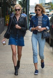 Constance Jablonski chose a denim jacket and striped tee combo for her off-duty style.