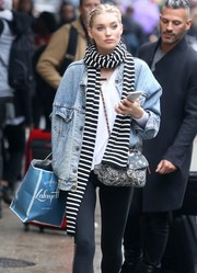 Elsa Hosk spiced up her casual attire with a black-and-white striped scarf.