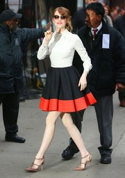 Emma Stone visited 'Good Morning America' looking adorably chic in a collared fit-and-flare dress by Valentino.