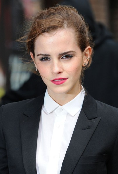 Emma Watson swept her hair up into a bun for her appearance on 'Letterman.'