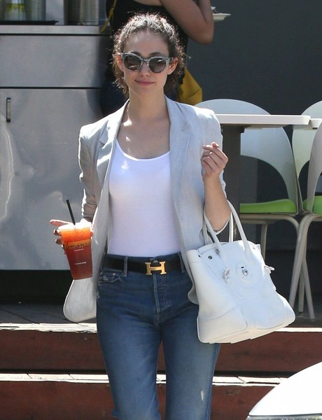 Emmy Rossum Leather Belt