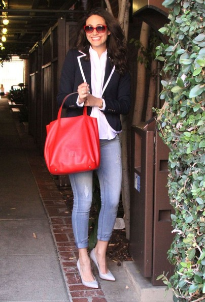Emmy Rossum Leather Tote