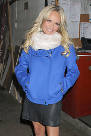 Kristin Chenoweth was true blue in a moto-style cobalt jacket.