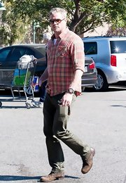 Eric Dane chose a pink plaid shirt to pair with his green trousers while out at Bristol Farms in Hollywood.