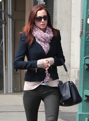 Eva Amurri Martino balanced a heart print scarf with a tailored navy blazer.