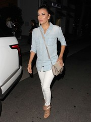 Eva Longoria was spotted at Mr. Chow dressed down in a Rails chambray button-down and white skinny jeans.
